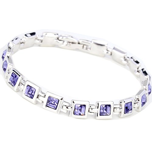 C.H Angle Womens Korean Jewelry Small Rhinestone Crystal Bracelets(C1) (Half Moon Buckle Belt)