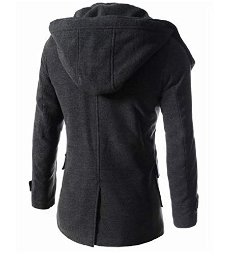 Grey Up Thicken Relaxed Button Energy Fit Hood Jacket Men's Outerwear Slim Fit Woolen Rg7qE