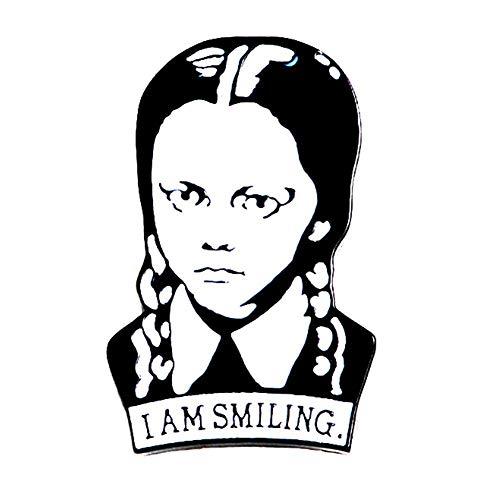 magi gift Wednesday Addams I AM Smiling Girl Enamel Pins Comics Brooch Collar Pin Jacket Coat Clothing Decor