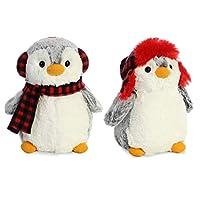 DHE Pom Pom 9-Inch Penguin Plush Bundle, Checkered Hat and Ensemble