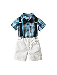 Kanodan Toddler Boy Bowtie Gentleman Outfits Suits Summer Overalls Clothes Set