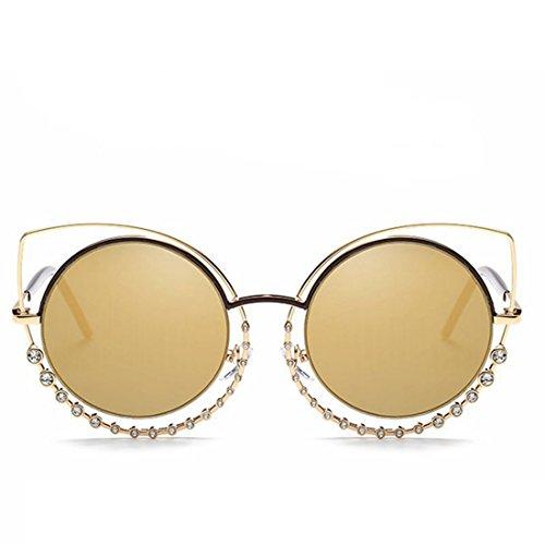 Soleil TLMY Soleil Cercle '' Gold Double Lunettes '' Gold Diamonds Femme Lens Lunettes de S De Frame wRr4qR