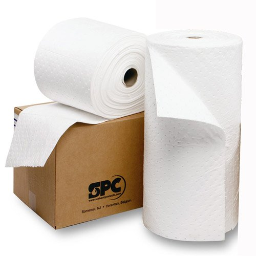 Spc Oil - Brady USA OP30P 30'' x 150' SPC Oil Plus White 3-Ply Meltblown Polypropylene Dimpled Full Size Heavy Weight Sorbent Roll, Perforated Every 30'', 15.34 fl. oz., 1