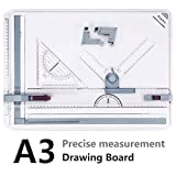A3 Drawing Board Metric System 51 x 36.5 cm, Preciva Drafting Table with Parallel Motion Accessories