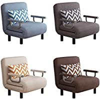 Folding Sofa Bed Armchair Sleeper Leisure Recliner Fabric Breathable Lazy Sofas Single Living Room Lounge Chair Bed…