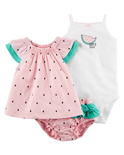 Carter's Baby Girls' 3 Piece Watermelon Bodysuit and Diaper Cover Set 12 Months