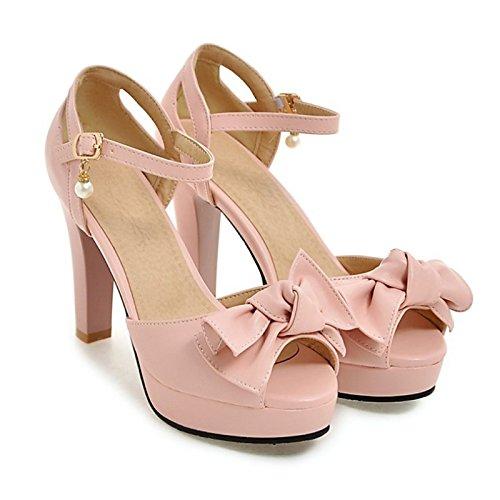 per toe Beige Pink Primavera nozze la festa rosa mandorla Estate Sera nero tacco pu Novità Scarpe alto donna Comfort sandali Bowknot Peep ZHZNVX di gpxOPT