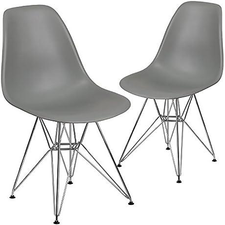 Flash Furniture 2 Pk Elon Series Gray Plastic Chair With Chrome Base