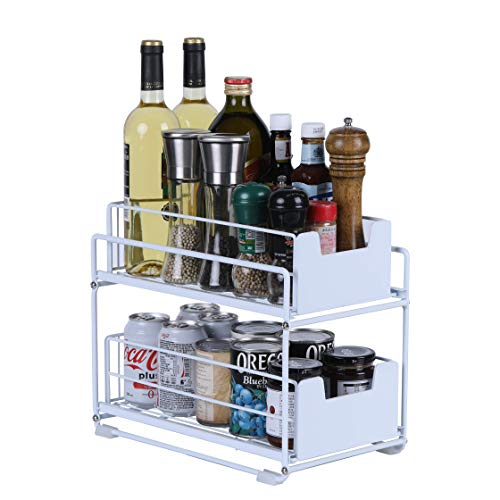Simple Gear Heavy Duty 2-Tier Under Sink Cabinet Organizers with Sliding Storage Drawer, Steel Shelf Basket Holds up to 150lbs for Kitchen Bathroom Cabinet or Pantry