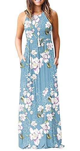 shangke Womens Zig Zag Scoop Neck Wave Striped Tank Maxi Long Dress (S, B-Floral 1) ()