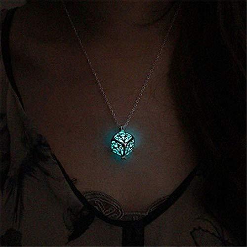 Hollow Tree of Life Necklace Pendant Luminous Glow in the Dark Locket Jewelry Sky Blue
