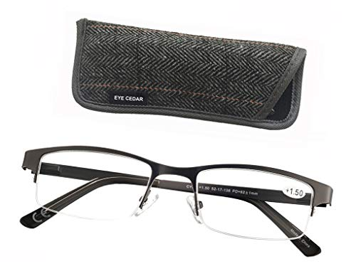 Eyecedar Metal Half-Frame Reading Glasses Men 5-Pack Spring Hinges Stainless Steel Material Includes 5-Cloth Pouch And Sun Readers 1.50 by eyecedar (Image #5)