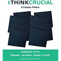 8 Premium Odor Control Universal Charcoal Filters for Cat Litter Boxes & Pans, Fits Nature's Miracle, Petmate, Booda, Catit, Grreat Choice & More, Reduces Household Pet Smells, by Think Crucial