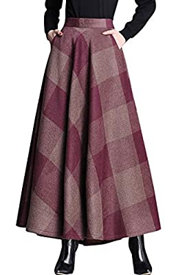 chouyatou Women's Retro High Waist A-Line Swing Plaid Maxi Wool Skater Skirt Hand Pocket