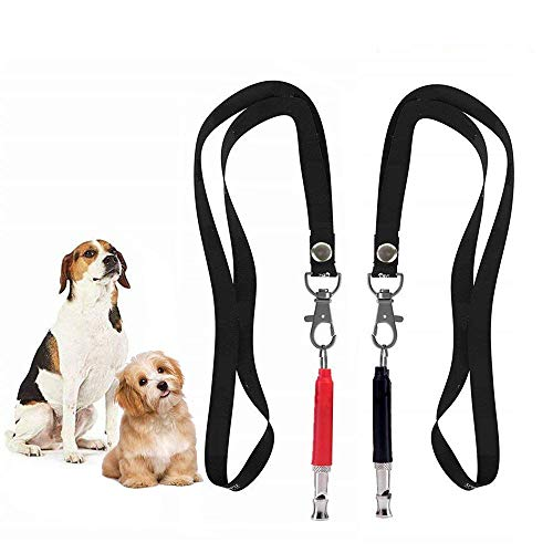 HiMo Dog Whistle Pet Training Whistle to Stop Barking, Adjustable Pitch Ultrasonic Training Tool Silent Bark Control for Dogs-with Lanyard Strap& Training Ebook Guide (Black_Red) ()