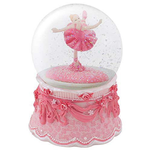 Elanze Designs Ballerina Arabesque Pose Rotating Figurine 100MM Water Globe Plays Tune Swan Lake