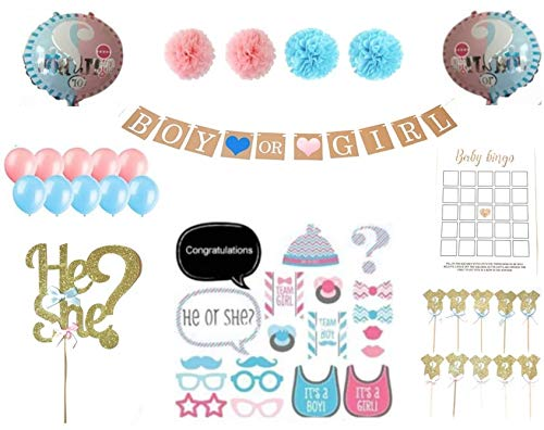 Gender Reveal Party Supplies (60 pieces) - Baby Shower Decorating Kit, Boy or Girl Balloons, Pink and Blue Balloons, Boy or Girl Banner, Tissue Paper Pom Pom, Cake Topper, Cup Cake Topper, Baby Bingo, Baby Picture Props by 129 Design