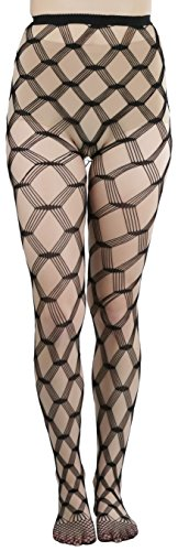 ToBeInStyle Women's Seamless Spandex Diamond Lace Multi Net Pantyhose Stockings - Black - One Size: Regular