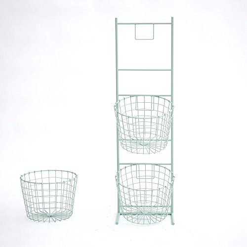 Shelves Light Green Wrought Iron Storage Baskets Floor-standing Bookshelf Newspaper Rack Magazine Holder Kitchen Bathroom Living Room Storage Display Stand - Standing Wrought Iron Basket