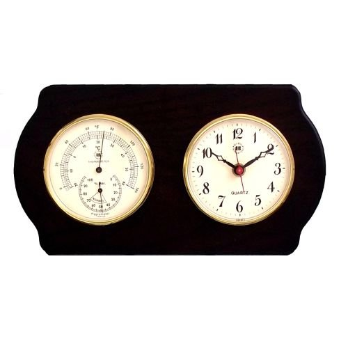 Bey-Berk International Brass Clock, Thermo./Hygro. on Ash Wood T.P. Analog Weather Stations