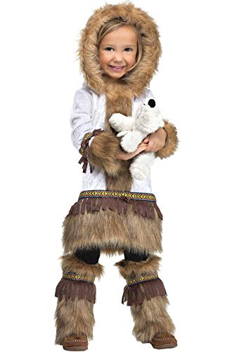 Fun World Costumes Baby Girl's Eskimo Toddler Costume, White/Brown, Small 24Month - 2T]()