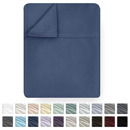 California Design Den Flat Top Sheet Only - Full Size Indigo Batik Color 400-Thread-Count Luxury Soft 100% Cotton Sateen Weave Bedding - Best Hotel Quality Cool Flat Sheet
