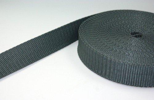 10m PP Gurtband - 25mm breit - 2mm stark - anthrazit (UV) BAENDER24