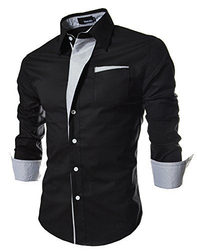 [Designer Fashion Stylish Shirts for Men Formal Business Office Dress Shirt Long Sleeve Button Up 3XL Big and Tall Plus Size XXXL] (Big And Tall Formal Wear)