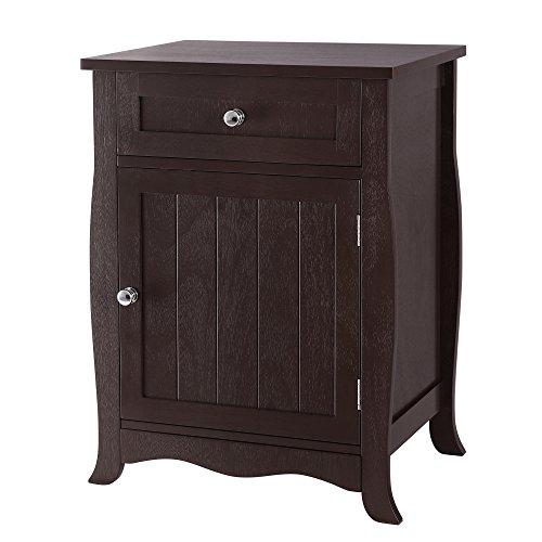 Round End Table Cabinet (SONGMICS Night Stand Wooden End Table Chair Side Table Wood Furniture with Drawer and Cabinet for Storage Brown ULET02BR)