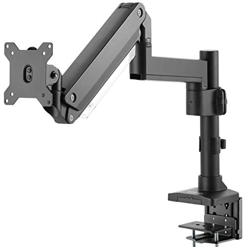 VIVO Premium Aluminum Single Screen Pneumatic Spring Monitor Arm, Desk Mount Stand with Extension Pole | Fits 1 Screen up to 32 inches (STAND-V101GT)