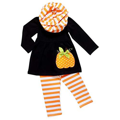 So Sydney Toddler Girls 3 Pc Halloween Fall Tunic Top Leggings Outfit, Infinity Scarf (XL (6), Polka Pumpkin Black)