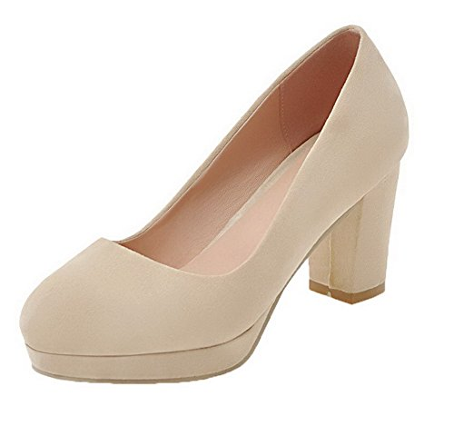 VogueZone009 Women's Round-Toe Frosted High-Heels Pull-On Solid Pumps-Shoes Beige iwZBFtDBg