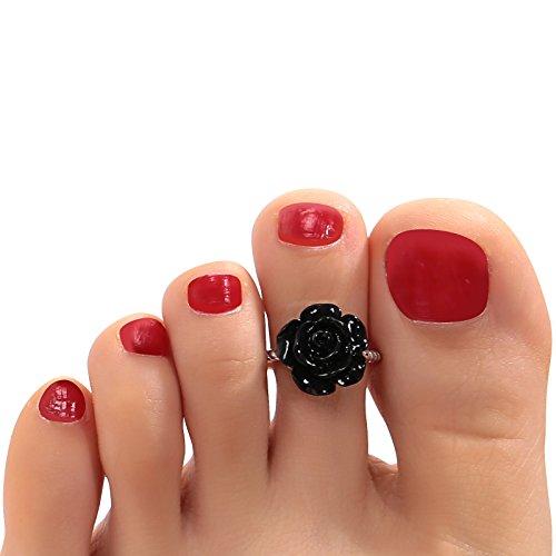 Aokarry 925 Sterling Silver Toe Rings For Women Girls Flower Black