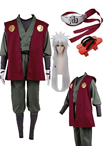 Naruto Jiraiya Cosplay Costume Halloween Full Set of Clothing Accessories (MaleXL) Red