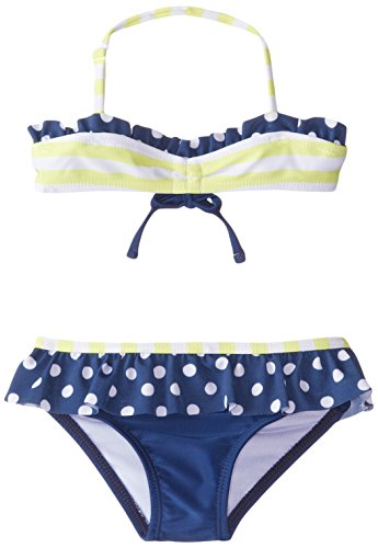 (Jantzen Little Girls' 2 Piece Set Sail Stripe Bikini, Yellow, 6X)