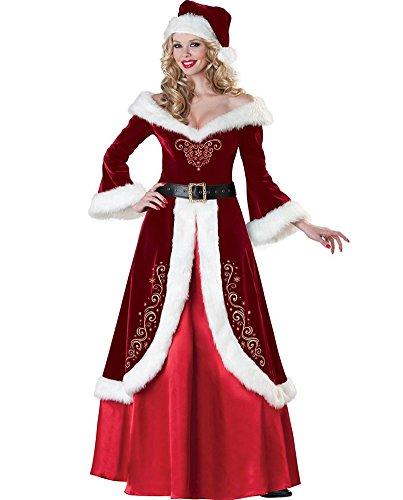 Plus Size Deluxe Santa Suit Adult Costumes (Women's Deluxe Classic Mrs. Claus Costume Queen Style Long Fancy Dress-XL)