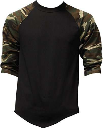 Casual Camo Raglan Tee 3/4 Sleeve Tee Shirt Jersey ,Black / Green Camo ,Large