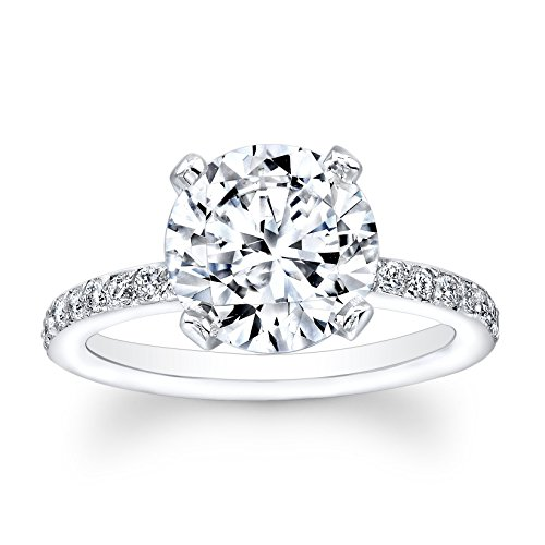 Women's 14kt white gold antique diamond engagement ring with 2 ct Round Brilliant natural white sapphire center 0.25 ctw diamonds by EVS Designs
