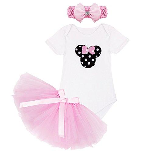 [YiZYiF Newborn Baby Girls' Christmas Birthday 3 Pieces Tutu Dress Up with Headband (9-12 Months, Pink &] (White Leotard Halloween Costume)