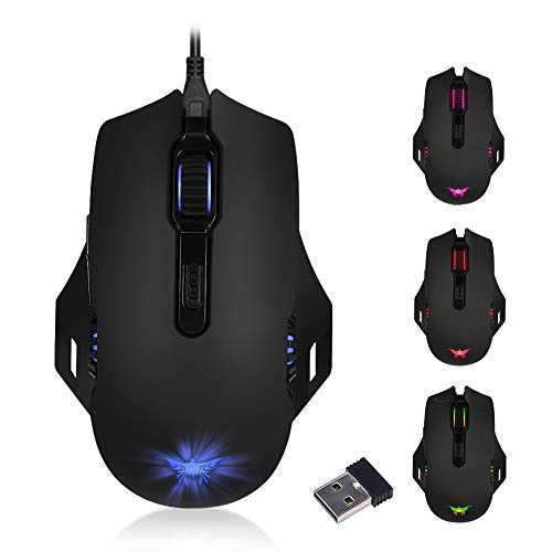Rechargeable Gaming Mouse with Dual Mode, Wired Wireless Ergonomic Optical Mice with USB, 6 Breathing Backlit,Mouse Esports with 6  Adjustable DPI Levels for  PC, Mac, Laptop, Desktop - Bl