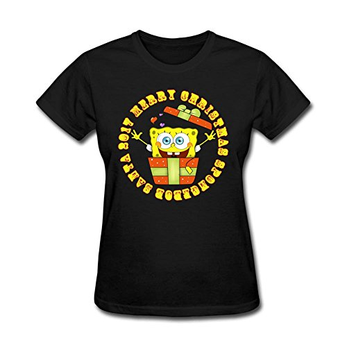 Custom Women 2017 SpongeBob Santa 100% Cotton Short Sleeve T Shirt Black XXL Costume (Colossus Costume)