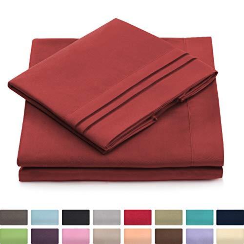Split King Bed Sheets - Burgundy Luxury Sheet Set - Deep Pocket - Super Soft Hotel Bedding - Cool & Wrinkle Free - 2 Fitted, 1 Flat, 2 Pillow Cases - Dark Red SplitKing Sheets - 5 Piece