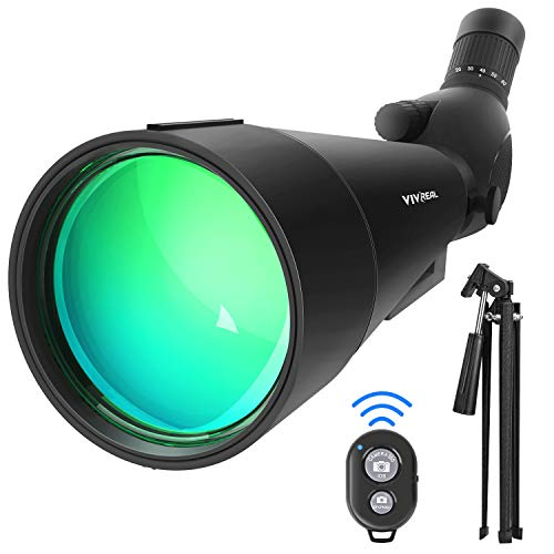 20-60x80 HD Spotting Scopes with Tripod, 45-Degree Eyepiece Waterproof Angled Spotting Telescope, Optics Zoom 99-49.5Ft / 1000Yds Spotting Scope for Kid & Adult Beginners with Carry Bag Remote Control