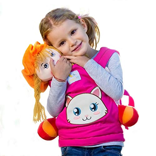 HappyVk- Baby Doll Carrier for Kids- with Cute Kitten Embroidery and Two Free Bows for it. Fits Dolls or Stuffed Animals up to 24 inches, Front and Back (as Backpack Carrier) Positions Wearing