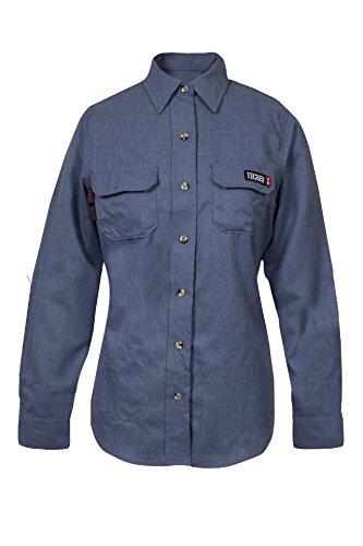 National Safety Apparel TCGSSWN00119MDTL00 Women's Tecgen Select Fr Work Shirt, Medium/Long, Light Blue by National Safety Apparel Inc