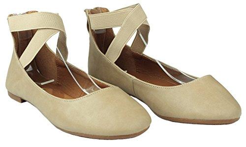 Dames Criss Cross Elastische Band Ronde Neus Rits Comfort Loafer Balletjurk Flats Taupe Pu_19