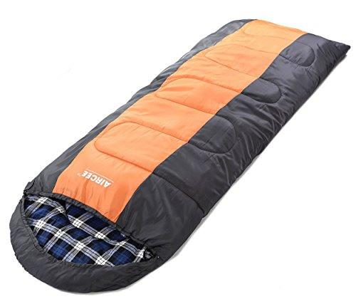 AIRCEE 30 Degree F Flannel Liner 4 Season Cold Weather Traveling Camping Hooded Sleeping Bag (Orange)