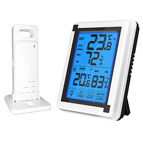 Digital Wireless Hygrometer Indoor Outdoor Thermometer Wireless Temperature And Humidity Monitor With Touchscreen Display Humidity Gaug 200ft/60m Range