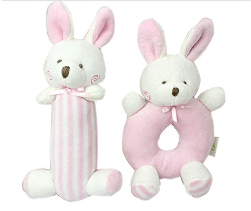 Godr Baby Rattle Plush Soft Toys Newborn Gift Crib toy 5.5in 2.7in Pink Rabbits Bunny - Christmas Baby Infant Toys Gift