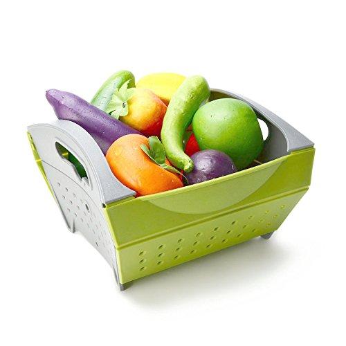 KCASA KC-SR15 Collapsible Foldable Vegetable Filter Basket Strainer Fruit Colander Storage Organizer (Green)